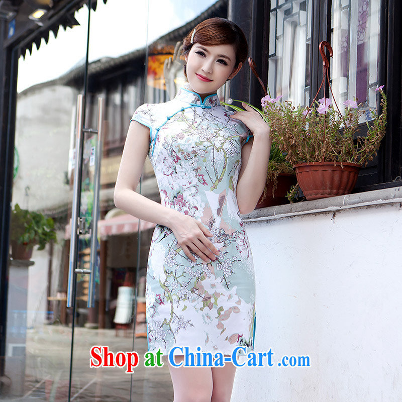 2015 spring new cheongsam dress improved fashion cheongsam dress in long robes beauty picture color XL