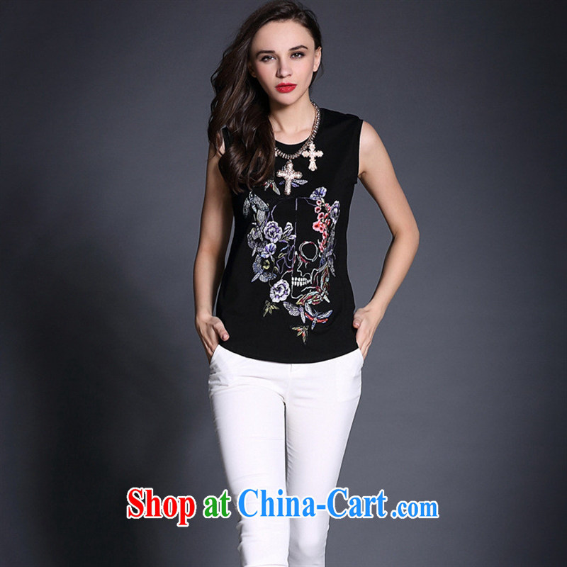 Qin Qing store in Europe Female European site spring 2015 new products, long embroidered cotton shirts B 1965 black L