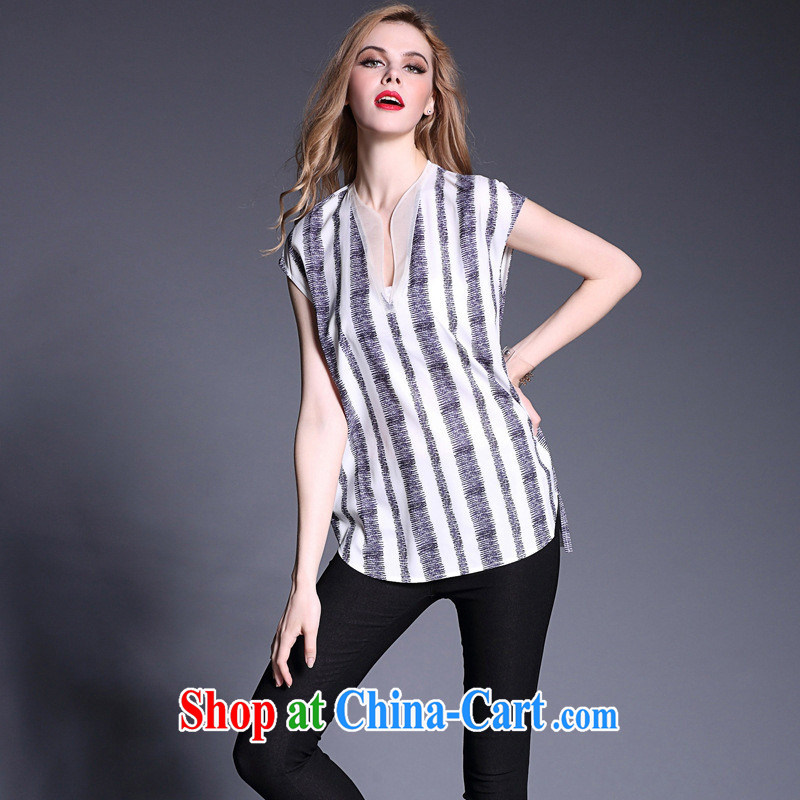 Qin Qing store 2015 spring and summer new female American embroidered sleeveless long T-shirt solid shirt B 1985 white L