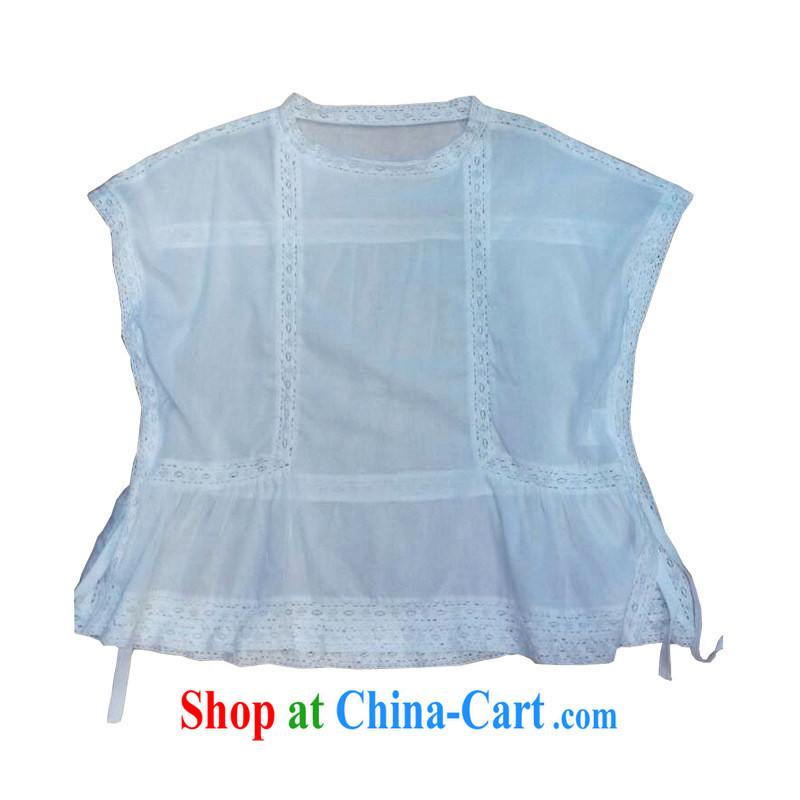 Qin Qing store 2015 spring new products in Europe female lace stitching Solid Color loose T-shirts B 1980 white L