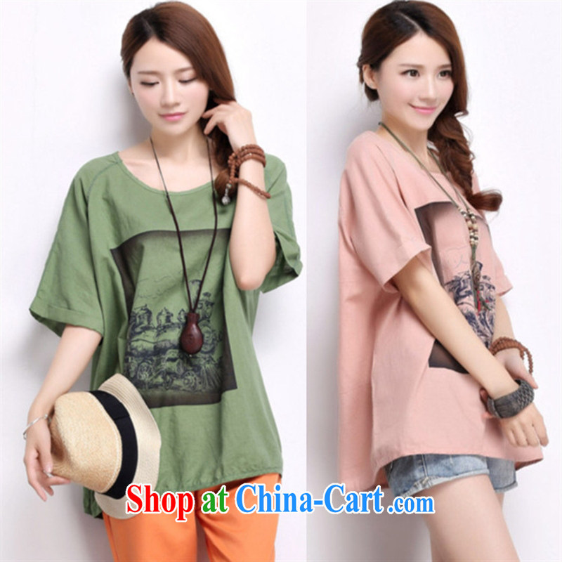 Black butterfly larger women new summer round-collar leak shoulder cuff leisure stamp T shirt thick MM loose T-shirt 5 DC 82 green XL