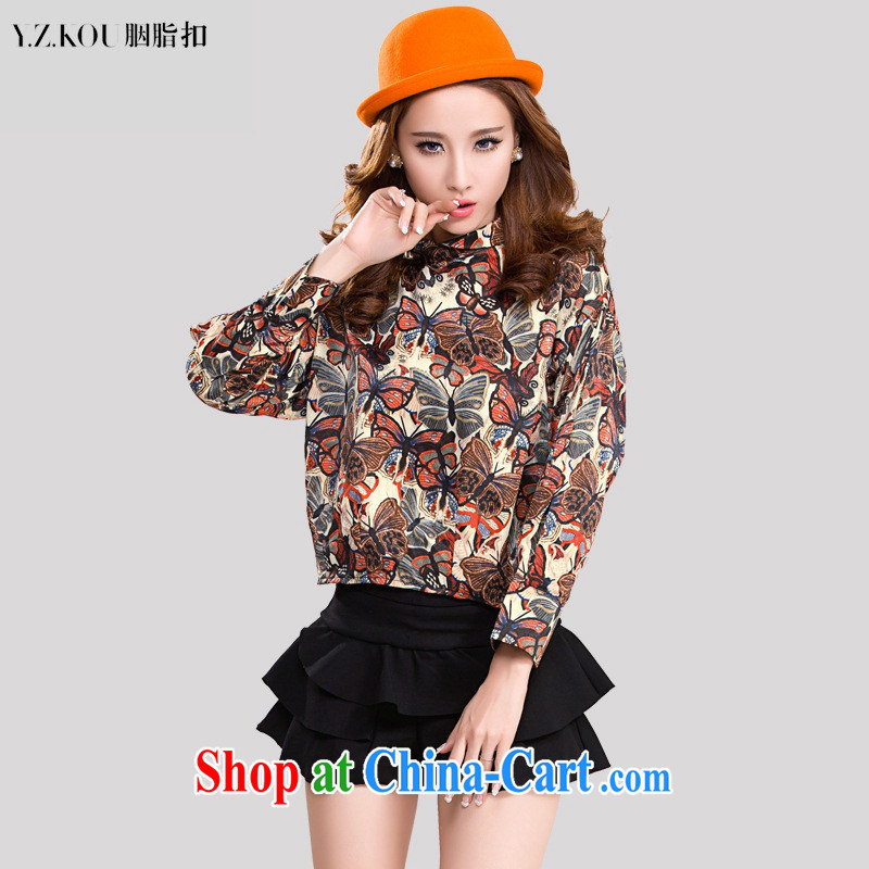 Ya-ting store spring 2015 new Korean fashion loose video thin stamp floral two-piece dress with blue L