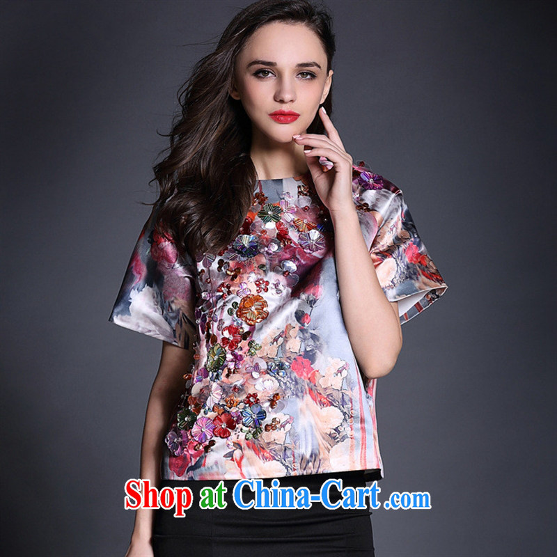 Deloitte Touche Tohmatsu store fine European and American Female European site spring and summer new short-sleeved loose T ? nails Pearl flower T-shirt B 1950 photo color L
