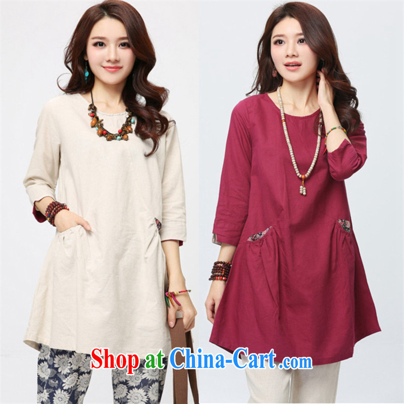 Black Butterfly Spring 2015 new Korean version of the greater code female round-collar 7 cuff linen clothes and the long T pension 3 D 21 wine red XXL