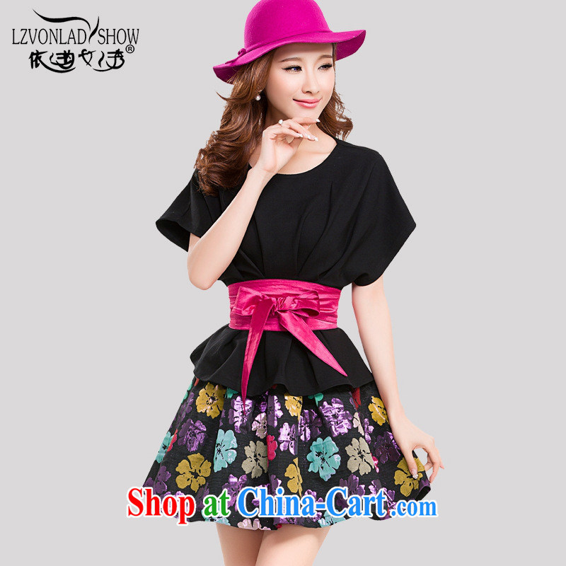 Ya-ting store spring female Korean fashion style graphics thin floral skirt short sleeve two-piece dress with dark blue L