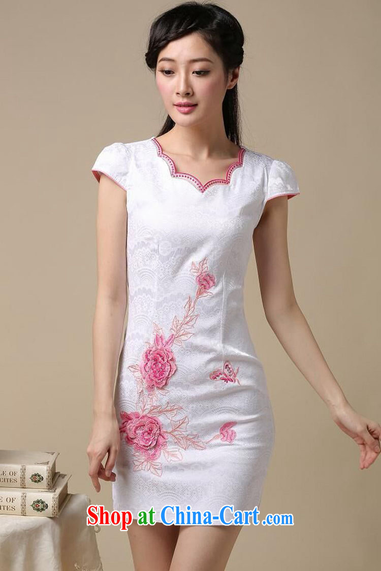 XUAN FENG 2015 summer new Korean Beauty does not rule round-neck collar embroidered short sleeve retro style dress cheongsam dress white saffron XXL pictures, price, brand platters! Elections are good character, the national distribution, so why buy now enjoy more preferential! Health