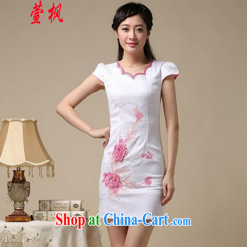 XUAN FENG 2015 summer new Korean Beauty does not rule the collar embroidered short sleeve retro fashion ladies dresses dresses white saffron XXL