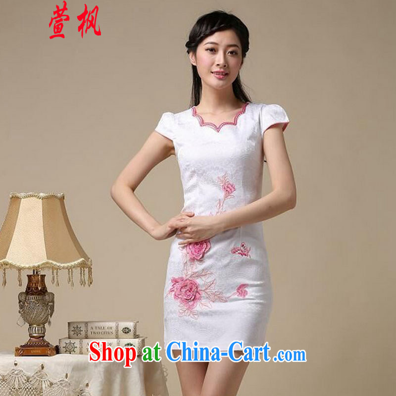 XUAN FENG 2015 summer new Korean Beauty does not rule the collar embroidered short sleeve retro fashion ladies' dresses dresses white XXL safflower, Xuan Feng (xuanfeng), online shopping