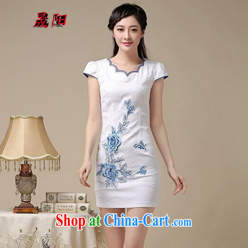 Sung Yang 2015 summer new Korean Beauty does not rule the collar embroidered short sleeve retro fashion ladies dresses dresses Blue on white flower S