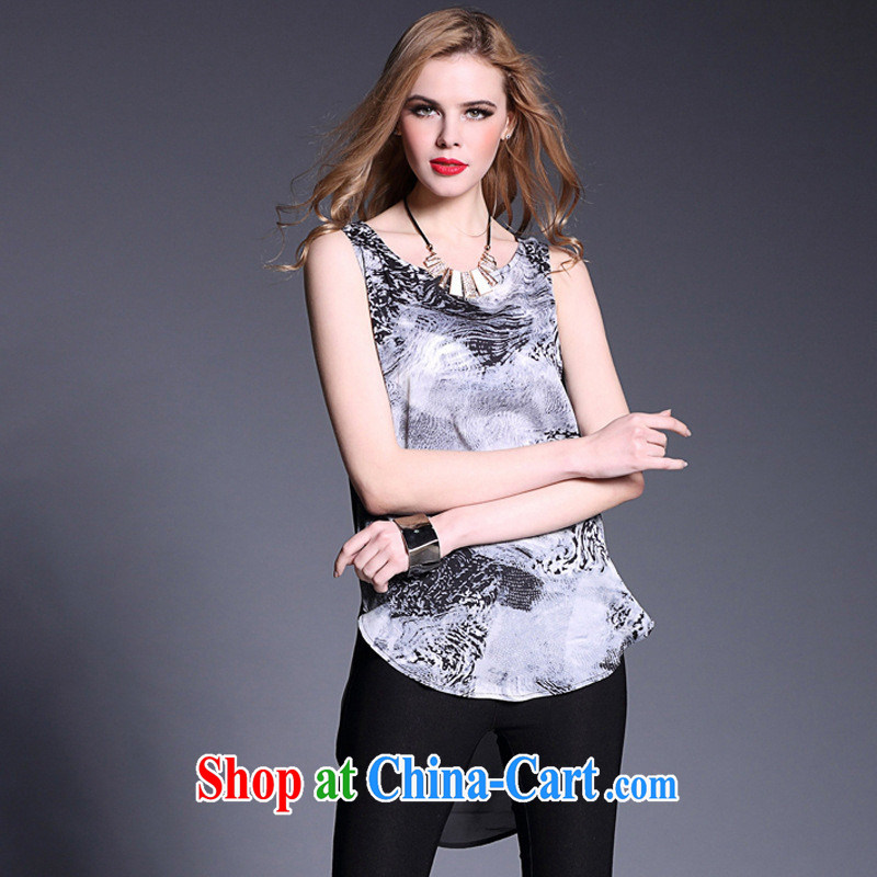 Qin Qing store solid T-shirt spring 2015 new female American stamp sleeveless round neck T-shirts 1983 B picture color L