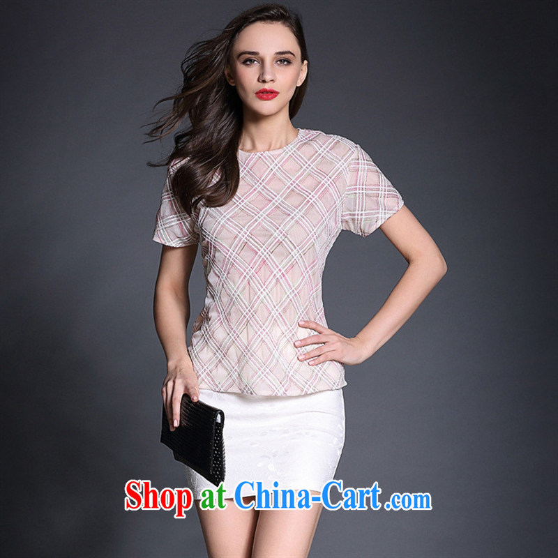 Qin Qing store in Europe Female European site spring and summer new short-sleeved plaid relaxed T-shirt T-shirt B 1951 photo color L