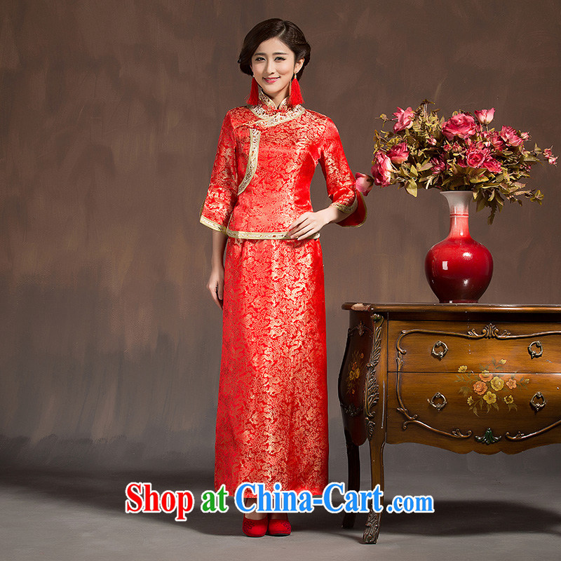 featured more than spring, summer and autumn red lace long marriages bows dress qipao Sau Wo service use phoenix red XL code