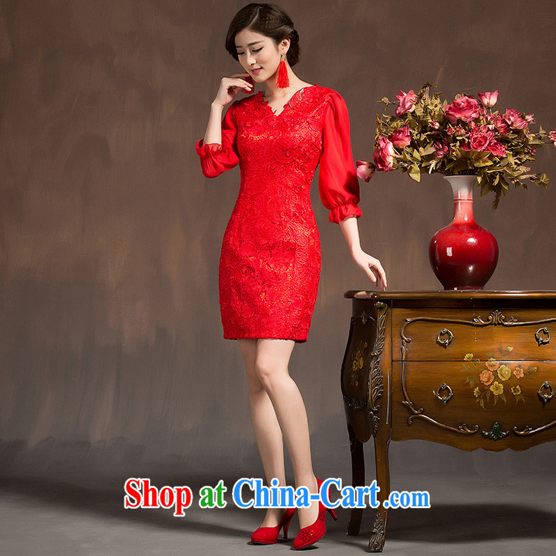 2015 Bridal Fashion toast serving short red wedding dress long-sleeved beauty toast wedding dresses spring red XL code