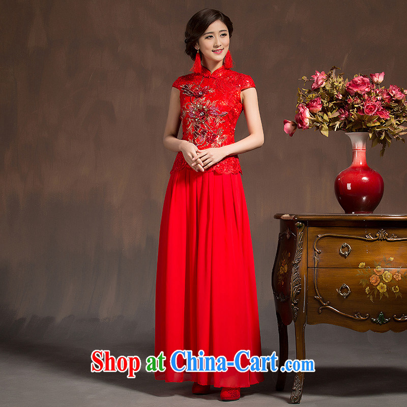 Spring 2015 new bride toast clothing qipao 7 cuff retro improved cheongsam dress red long wedding dress red XL code