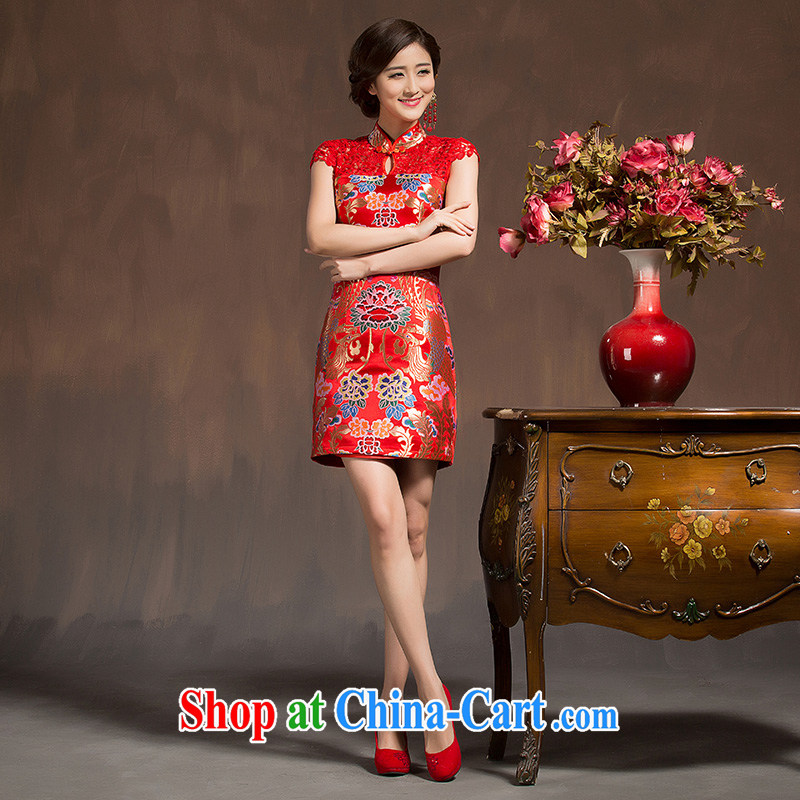 New bridal red cheongsam short toast wedding clothes lace beauty improved embroidery at Merlion 2015 red M code