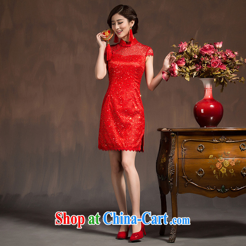 Toasting service 2015 spring bridal dresses stylish short beauty red lace Chinese married Yi wedding dress red XL code