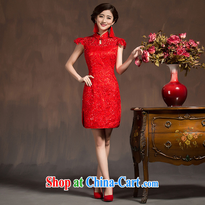 Toasting Service Bridal Fashion dresses 2015 spring wedding dress red short cheongsam dress beauty female Red XL code