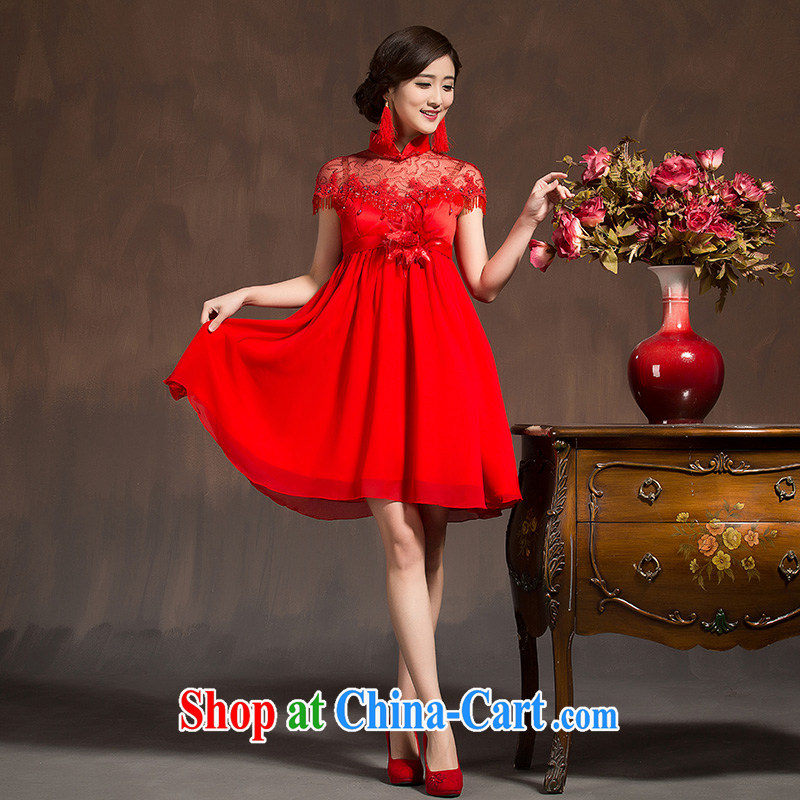 High quality lace Chinese woman bridal wedding dresses wedding toast clothing red short Phoenix embroidery cheongsam dress red XL code