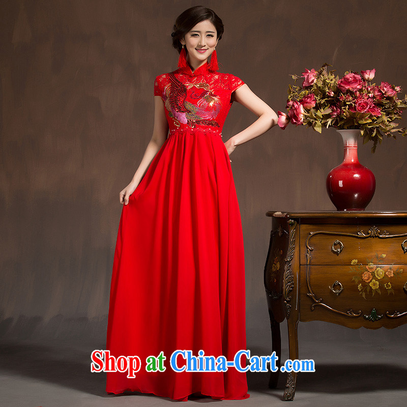 2015 new spring red bridal toast clothing spring dresses wedding dresses Chinese married Yi Long Red XL code