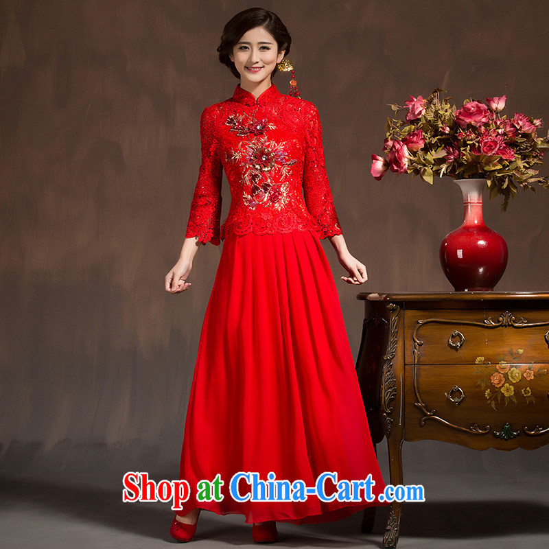 cheongsam dress 2015 spring bridal toast clothing dresses summer improved stylish wedding dress red 7 cuff red XL code