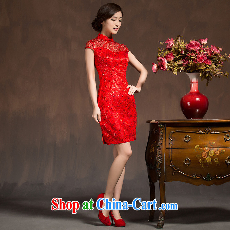 2015 new cheongsam dress Chinese wedding dress winter red lace retro improved bridal toast clothing red XL code