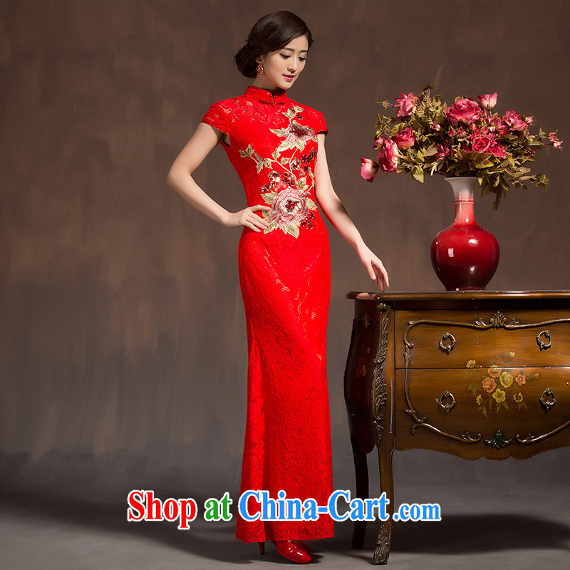 Spring 2015 New Long cheongsam dress winter clothing marriages bows dress retro improved dresses Soo Wo service red L code