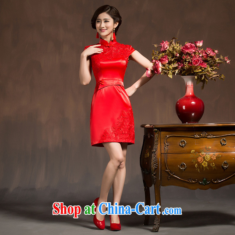 wedding dresses new 2015 spring bridal toast serving short summer red improved marriage retro dresses dresses red XL code