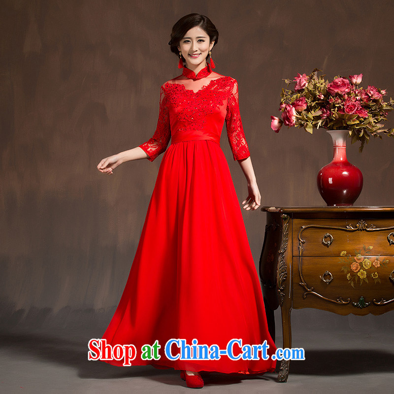 Toast clothing red married women dress 2015 new spring and summer cultivating long-sleeved dresses long dresses female Red XL code