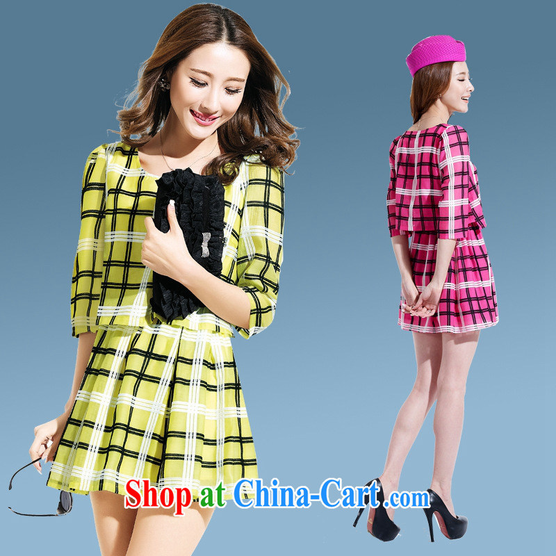 Deloitte Touche Tohmatsu store sunny spring 8135 the new Korean version, name-won round-collar plaid 7 cuff beauty fashion a field skirt style dress girls pink L