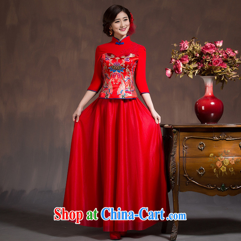 2015 Spring Summer China wind bows Service Bridal wedding dress retro embroidery long cheongsam red female Red XL code