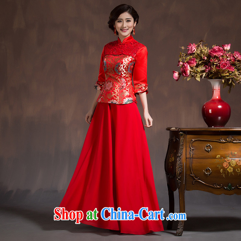 2015 new spring, bridal dresses long sleeved retro red toast serving Chinese long beauty wedding dresses red XL code