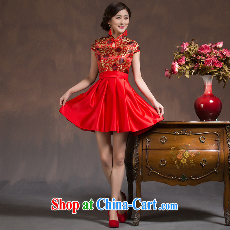 2014 new bride's wedding dress Evening Dress retro improved cheongsam dress short, red bows serving spring and summer red XL code