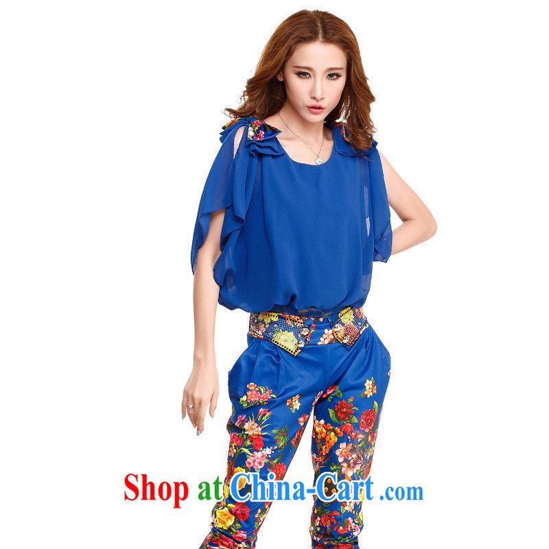 Qin Qing store 60,236 summer new Korean short-sleeved bare shoulders sexy waist seal graffiti stamp career 2-piece set leisure-trousers royal blue XL