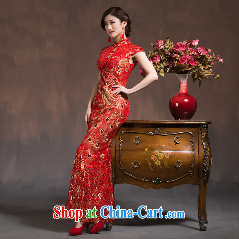 wedding dresses toast serving long, with Phoenix short-sleeved retro beauty crowsfoot bridal dresses 2015 New Red XL code