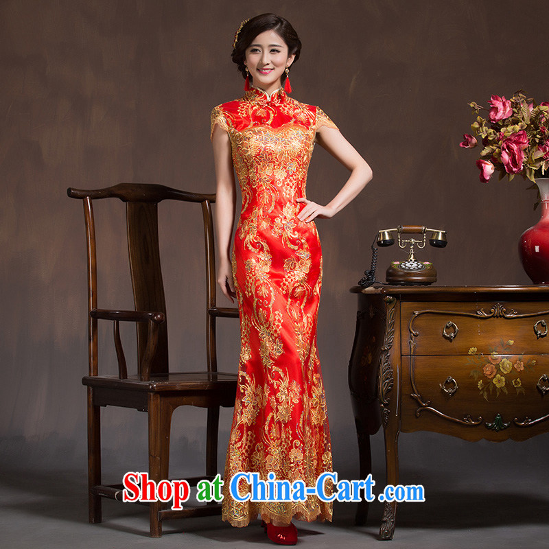 Bridal toast service wedding dresses Spring and Autumn Chinese Antique bridal wedding dress Red Beauty crowsfoot long summer red XL code