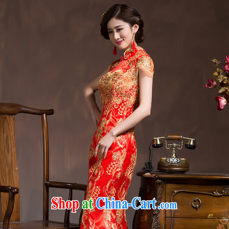 Bride's toast clothing wedding dresses Spring and Autumn Chinese Antique bridal wedding dress Red Beauty crowsfoot long summer red XL code, Hyatt, married, and shopping on the Internet