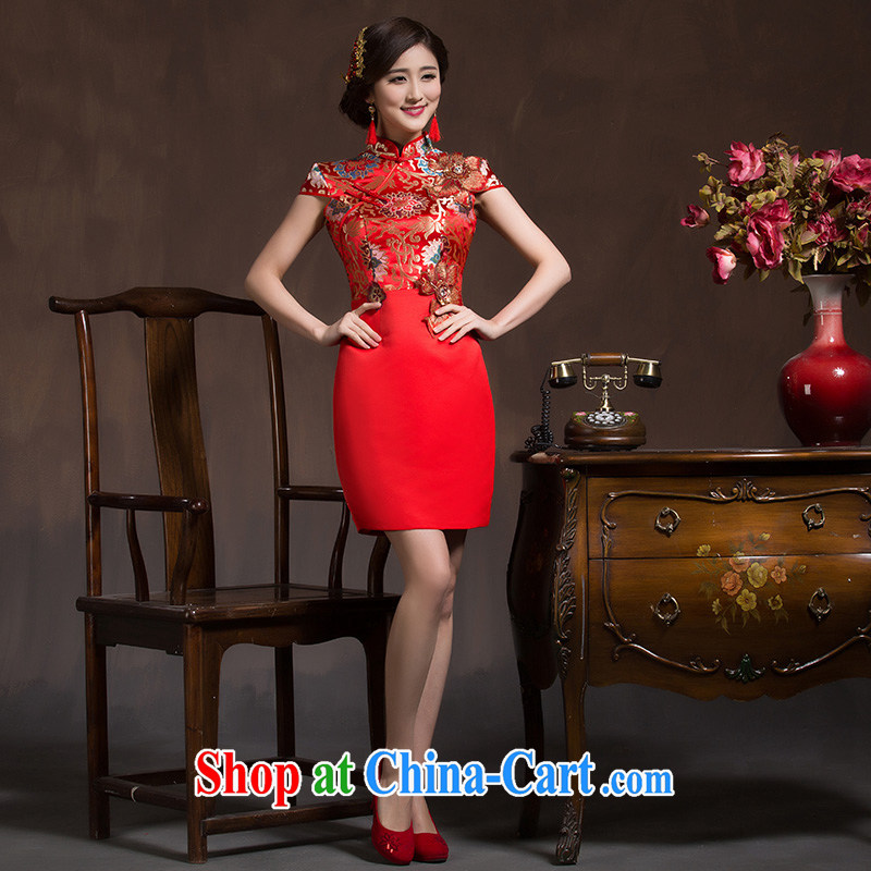 Toasting service bridal dresses 2014 red retro short, Phoenix beauty package and bridal wedding dresses red XL code