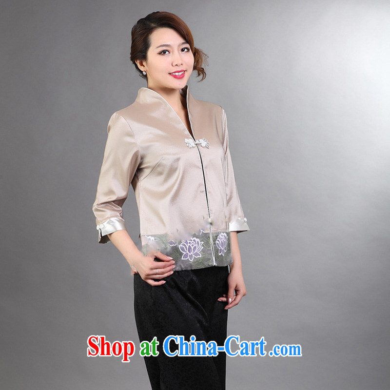 Mrs Ingrid economy 2015 Mephidross, Ms. Tang 7 sub-sleeved T-shirt, with a yarn embroidered 7 cuffs female Tang with gray XXL