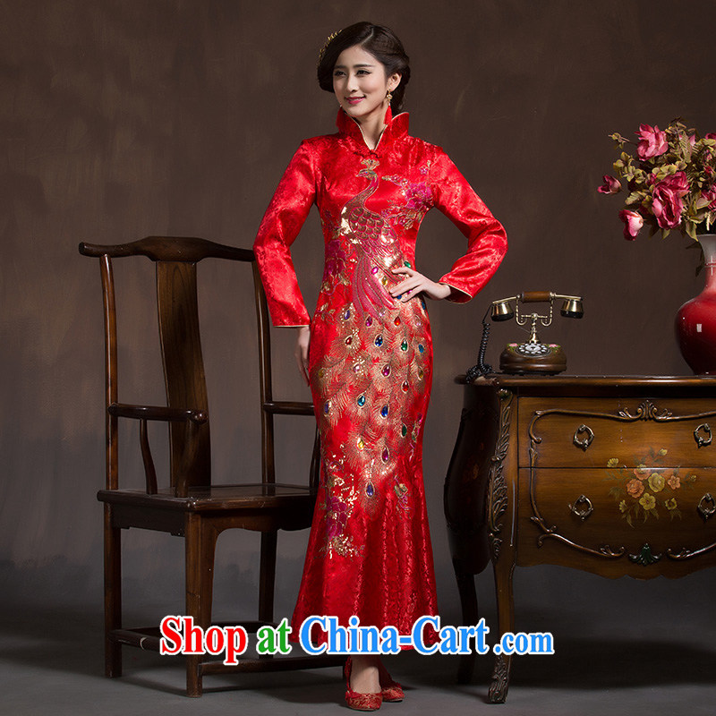 Toast clothing qipao marriages crowsfoot long wedding retro improved 2015 New Phoenix wedding dresses red XL code