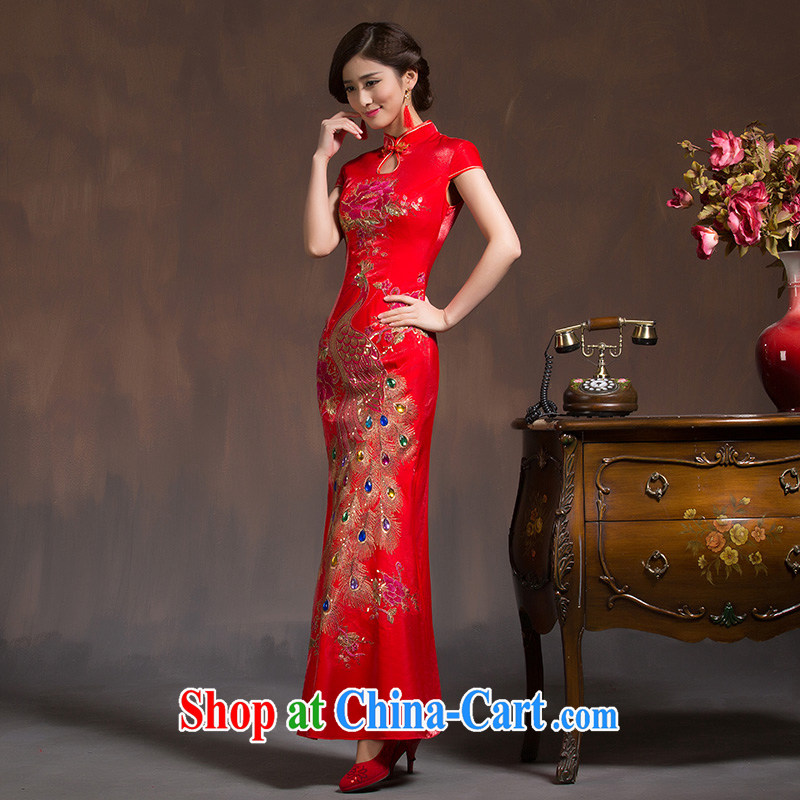 Bridal wedding dresses new 2015 wedding dresses red long toast clothing dresses retro improved spring red L code