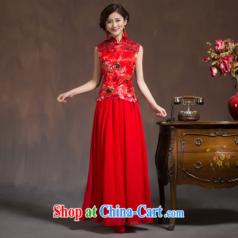 Wedding wedding dress bridal toast spring serving long 2015 new winter winter long-sleeved red girl cheongsam red XL code