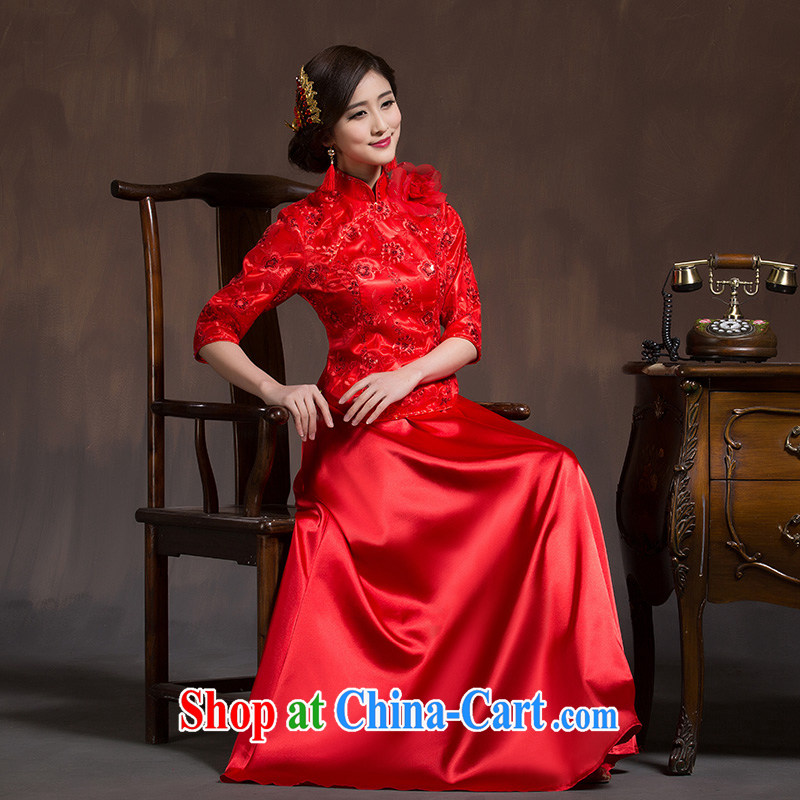 Bridal toast service 2015 spring new stylish wedding cheongsam dress red Chinese in long sleeves, cultivating lifu red XL code