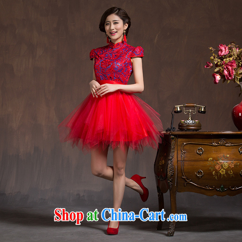 Toasting service 2015 new dresses spring and summer is short, bridal wedding dress the Code Red cheongsam dress Soo Wo service red XL code