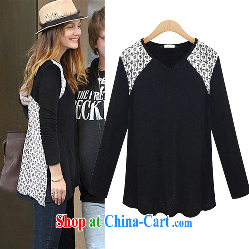 hamilton Europe 2015 spring and summer the European site female new boutique long-sleeved V for stamp duty, long, Ms. shirt T 9688 black XL