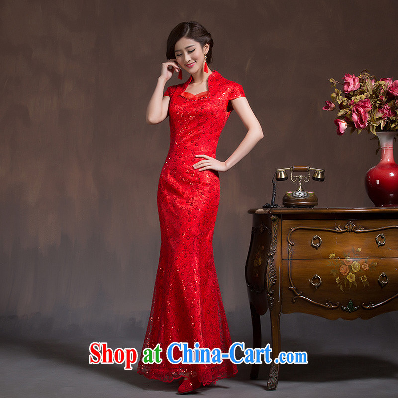 Bridal toast service 2015 new autumn bridal dresses long crowsfoot wedding dress Chinese wedding beauty winter red XL code