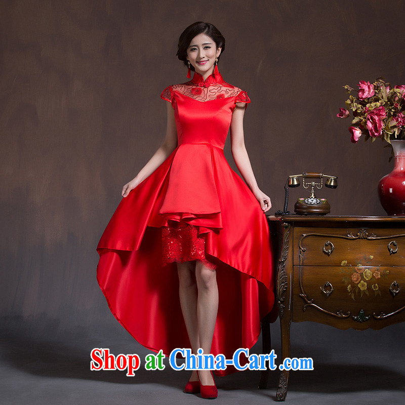 Chinese wedding dresses short-sleeved high-waist bridal wedding dresses Red Large code pregnant women embroidery toast serving spring and summer red XL code