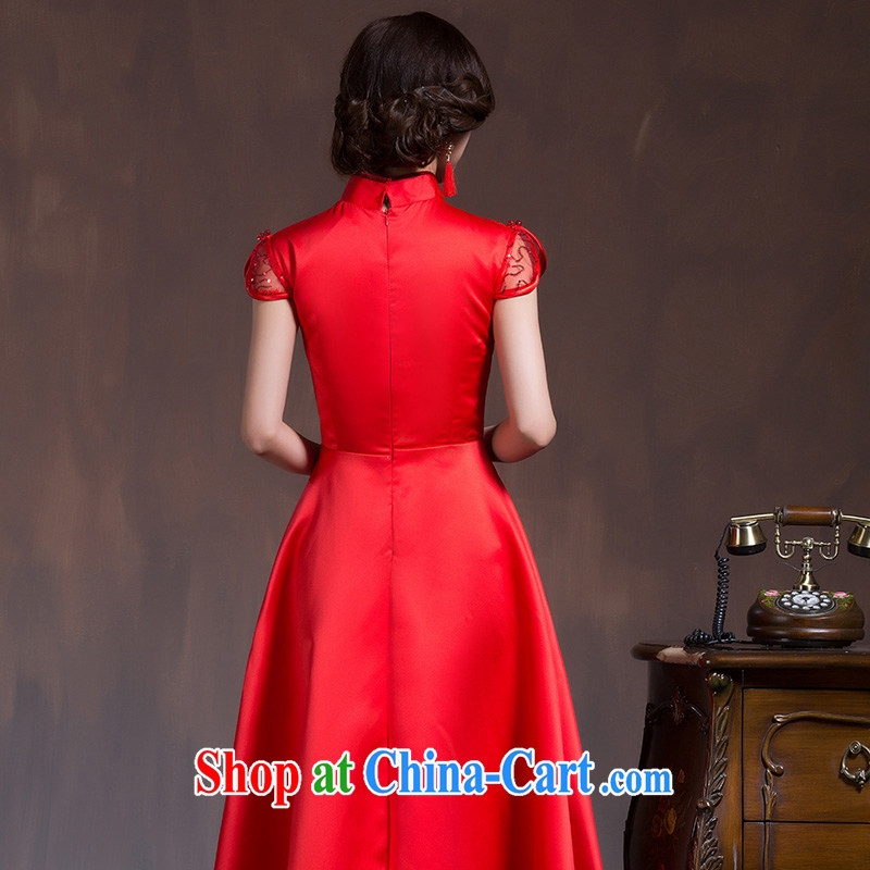 Chinese wedding dresses short-sleeved high-waist bridal wedding dresses Red Large, pregnant women embroidery toast serving spring and summer red XL Code, marriage of arts, shopping on the Internet