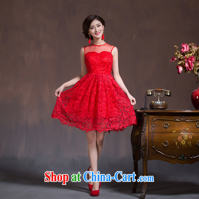 Toasting Service Bridal wedding dress red short New 2015 spring and summer dresses lace beauty dresses female Red XL code