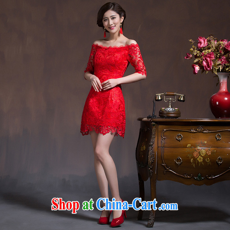 2015 new toast Service Bridal Fashion spring long-sleeved qipao Chinese wedding dress short autumn beauty national Red XL code