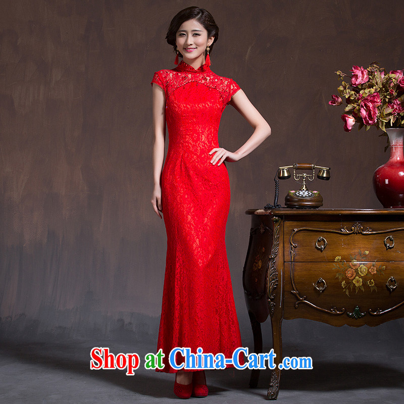 Wedding cheongsam dress uniform toasting red long-sleeved cultivating Chinese Dress 2015 bridal long dresses, spring and summer red XL code